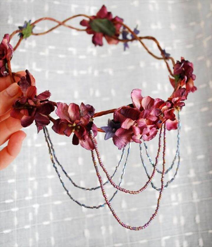 Bohemian head wreath mauve flower crown, Gold leaf, Chain headband and Bobby pins