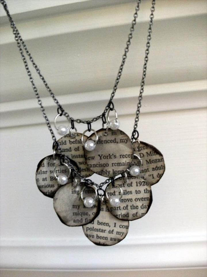 necklace from old book papers