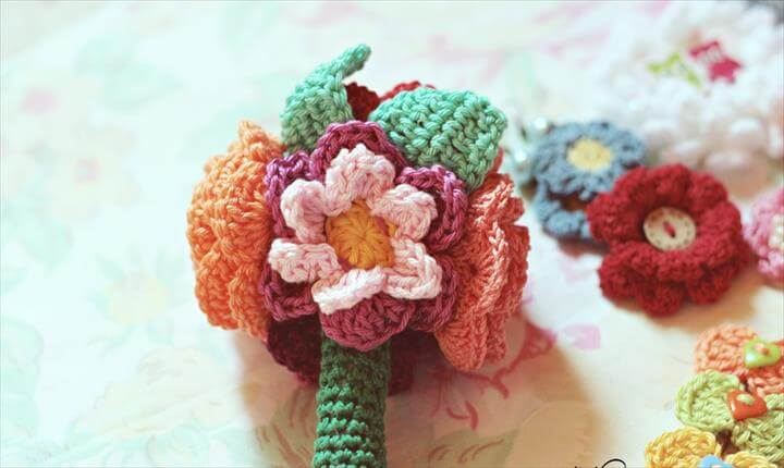 bouquet of crochet flowers