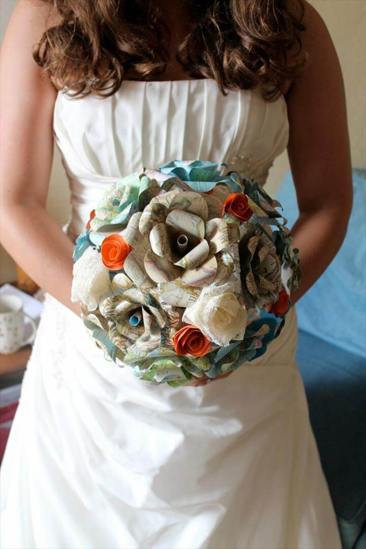bridal bouquet paper flowers diy idea wedding dress