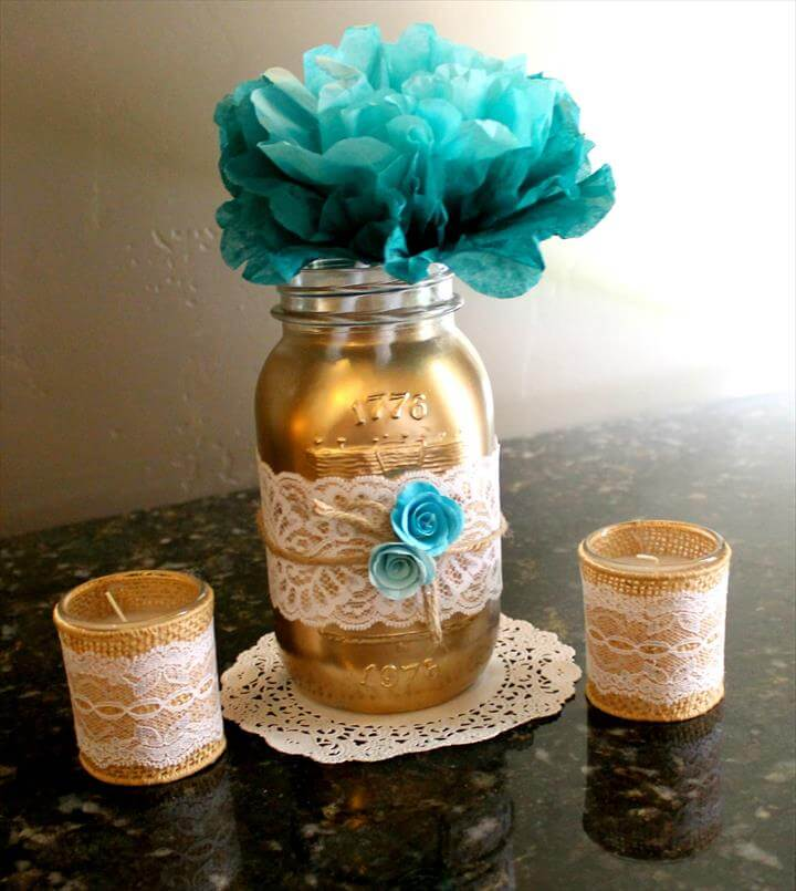 Lovely Mason Jar Craft Idea! These painted mason jars made for pretty centerpieces for the