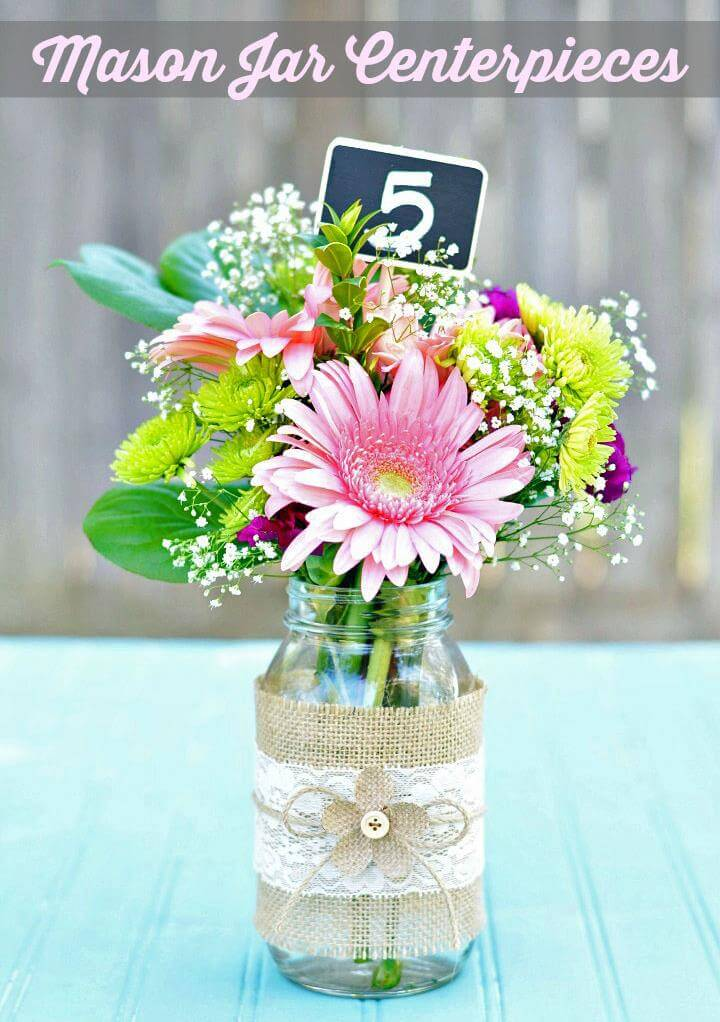 Supplies needed to make your own burlap & lace mason jar centerpieces: