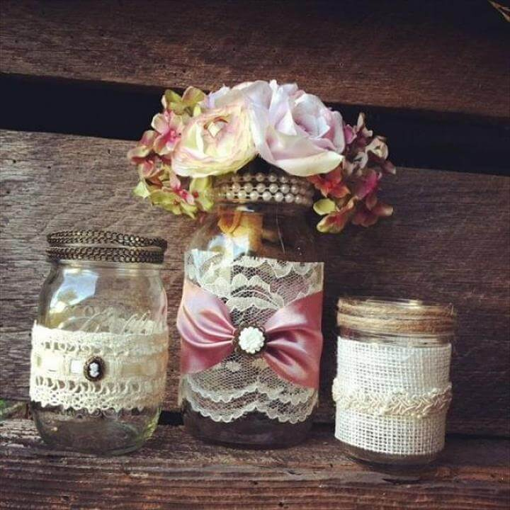 Burlap Mason Jar Decorations