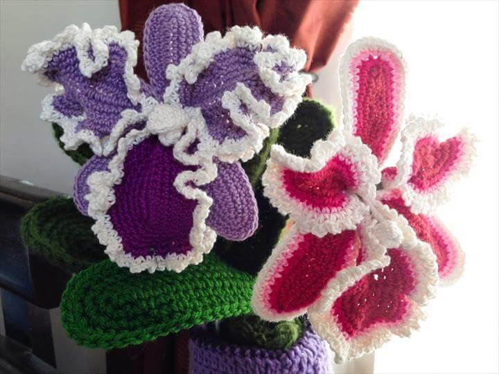 Cattleya Orchid Crochet Flower