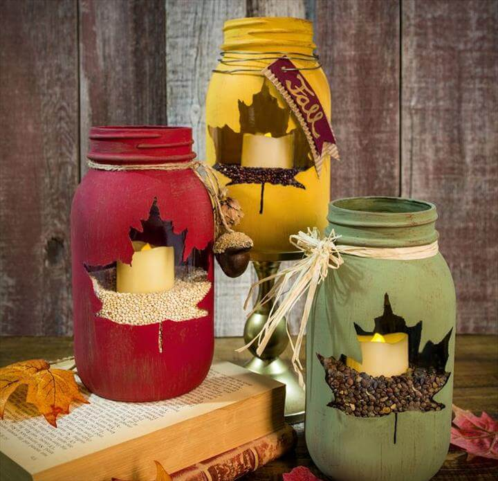 chalk paint and stencil leaf mason jar centerpiece Mason Jar Christmas Centerpiece