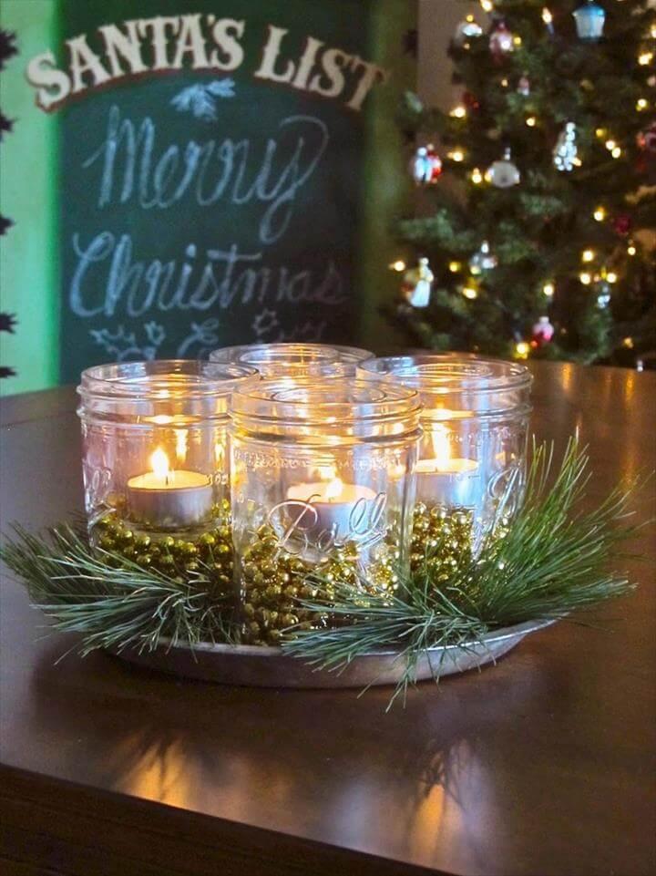 Weihnachtliches Mittelstück mit Mason Jars
