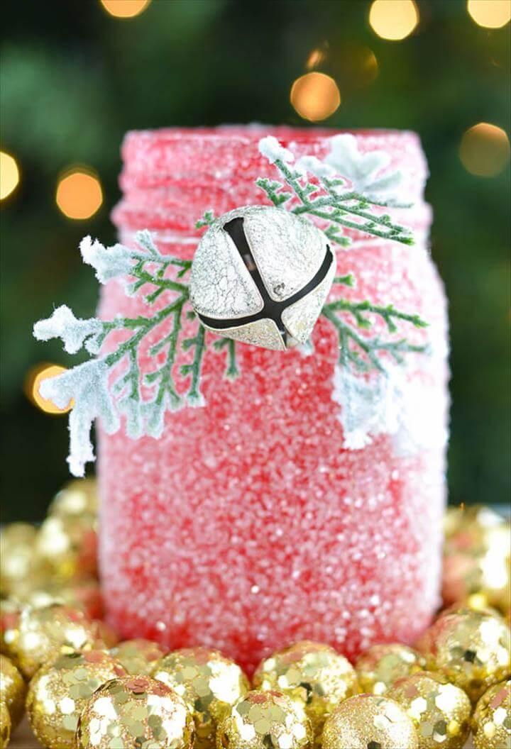Christmas glitter mason jar centerpiece