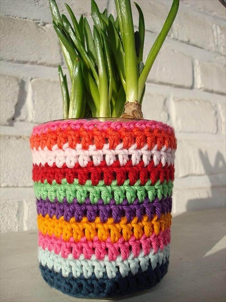 colorful crochet pot cover
