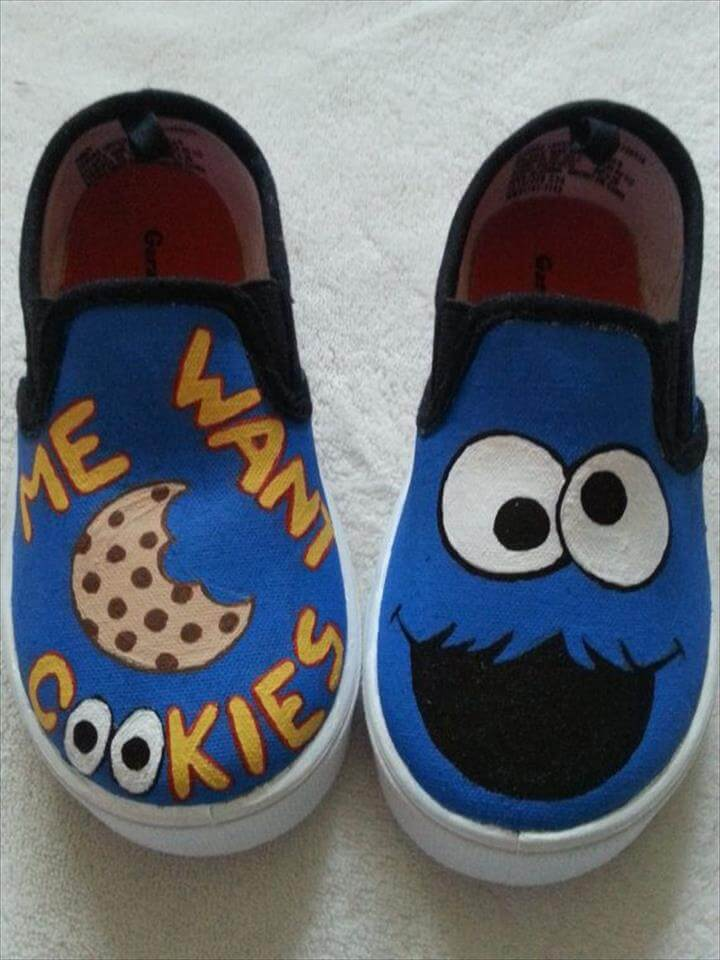 260f72a33191af Cookie Monster Inspired Hand Painted Shoes  DIY Shoes For Spring