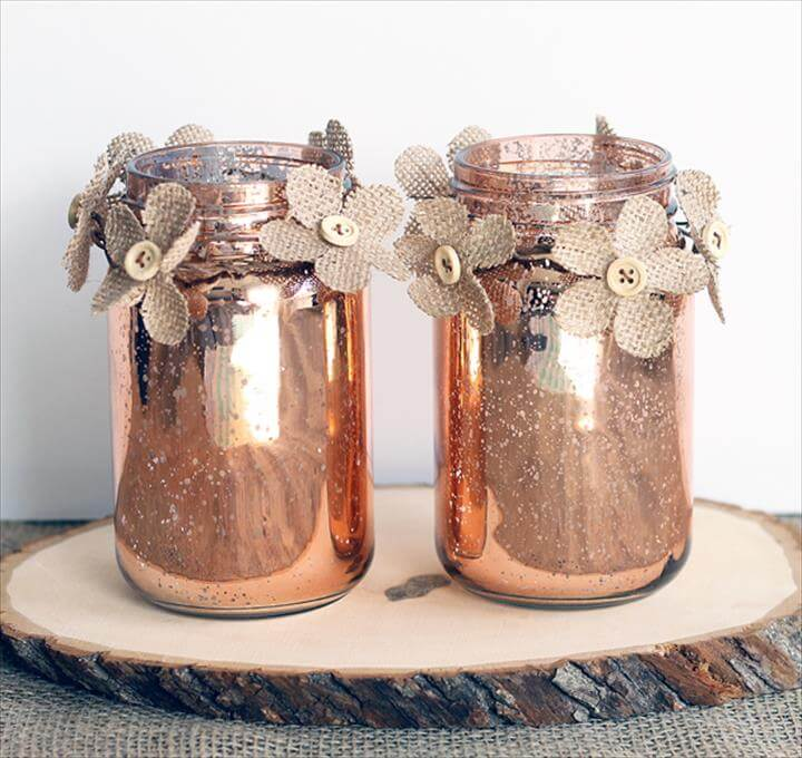 This copper mason jar centerpiece is perfect for weddings and other events! You can make