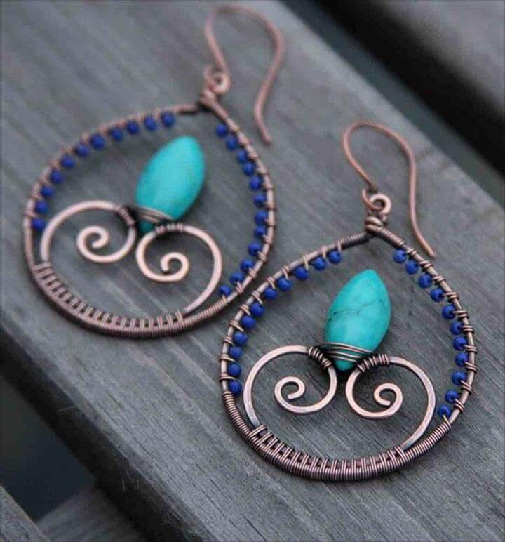 Copper Lapis Lazuli Turquoise Wire Wrapped Hoops