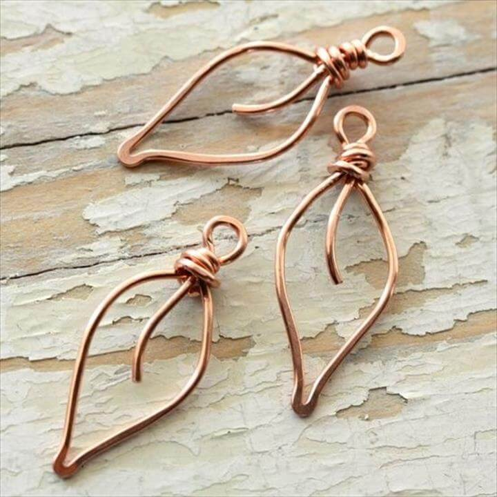 Copper Wire Jewelry   ... copper wire small handmade wirework by mycorabella leaves solid