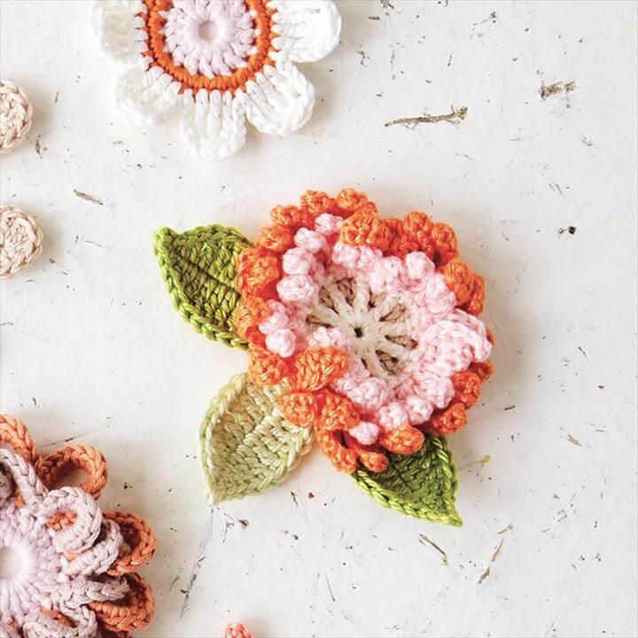 Corsage crochet flower pattern