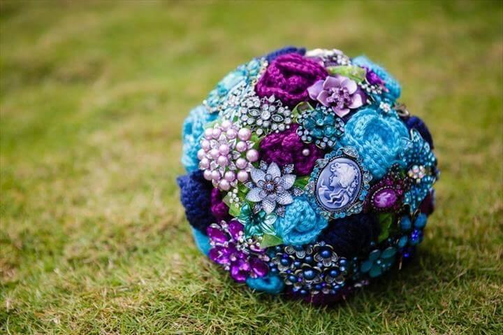 Bridal Crocheted Flower Bouquet. brooch bouquet