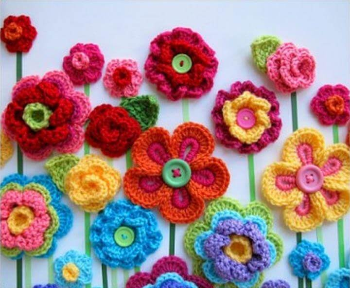 Crochet Button Flowers Video Lots Of Free Patterns