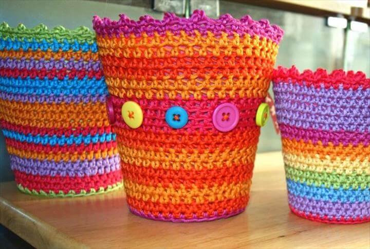 Crochet covers for plastic flower pots