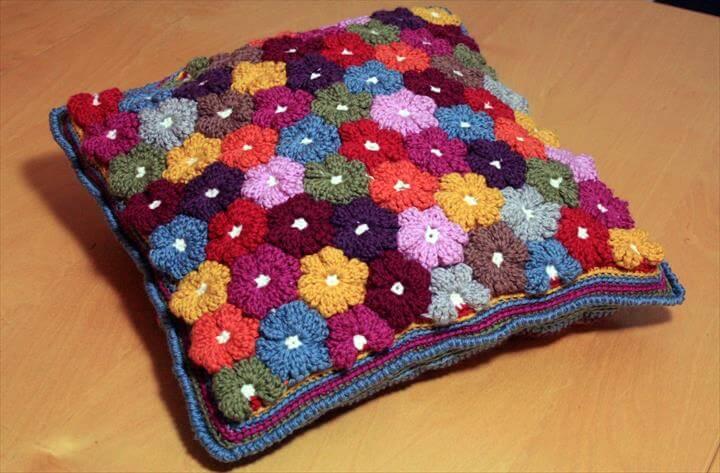 Crochet Floral Cushion