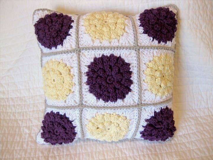 3 Crochet Flower Pillow