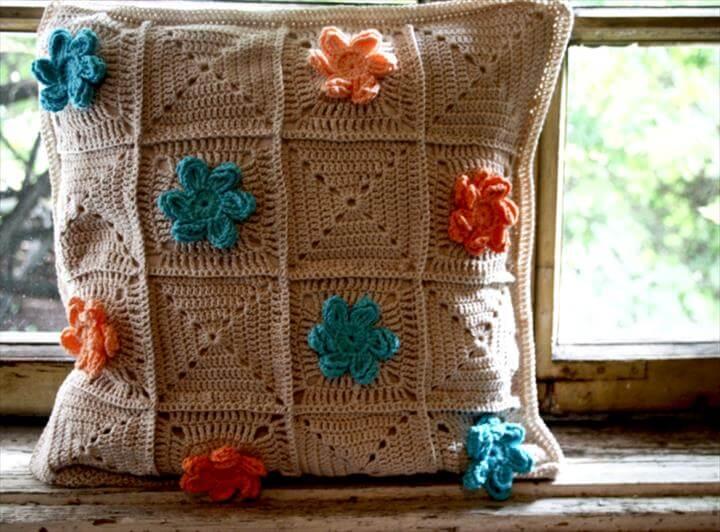 Crochet Homecrochet-flower-pillow