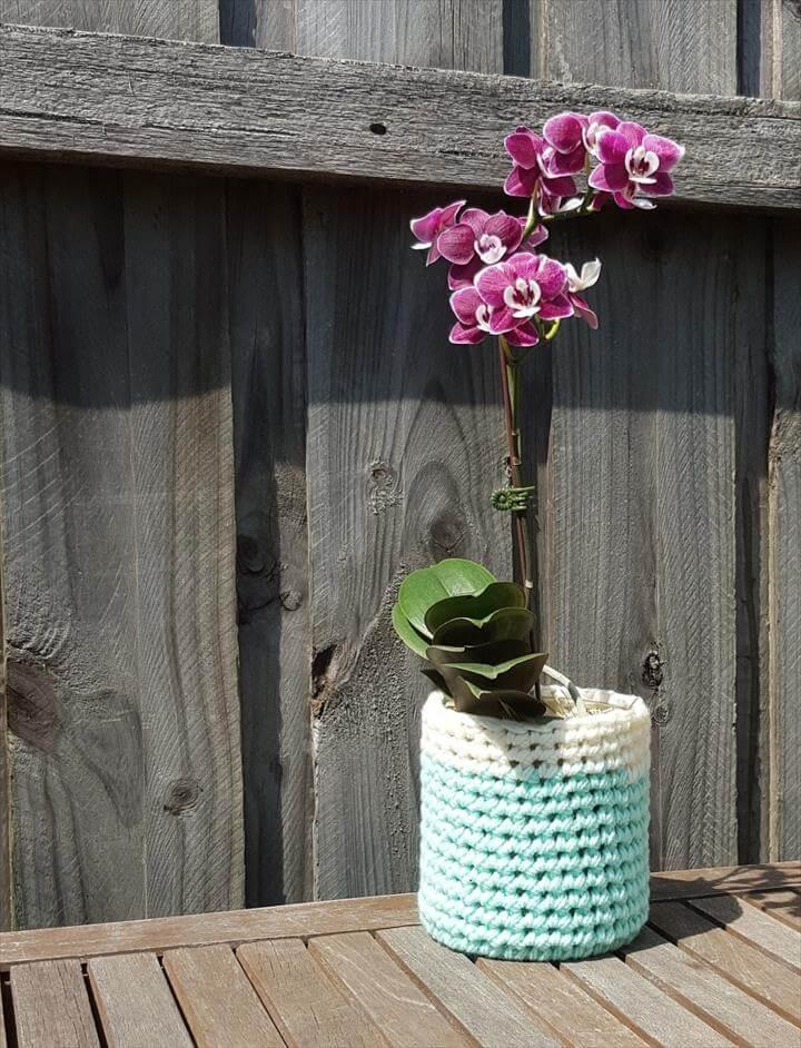 Image result for crochet flower pot Crochet Flower Pot