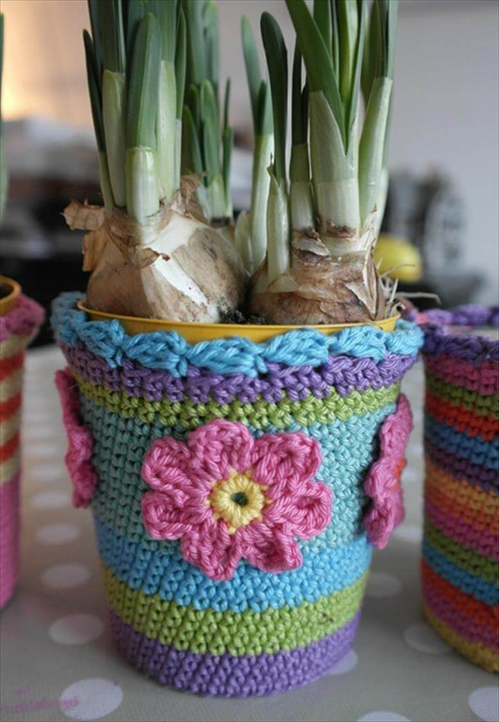 33 easy crochet flower pot amp plant cover ideas diy to make