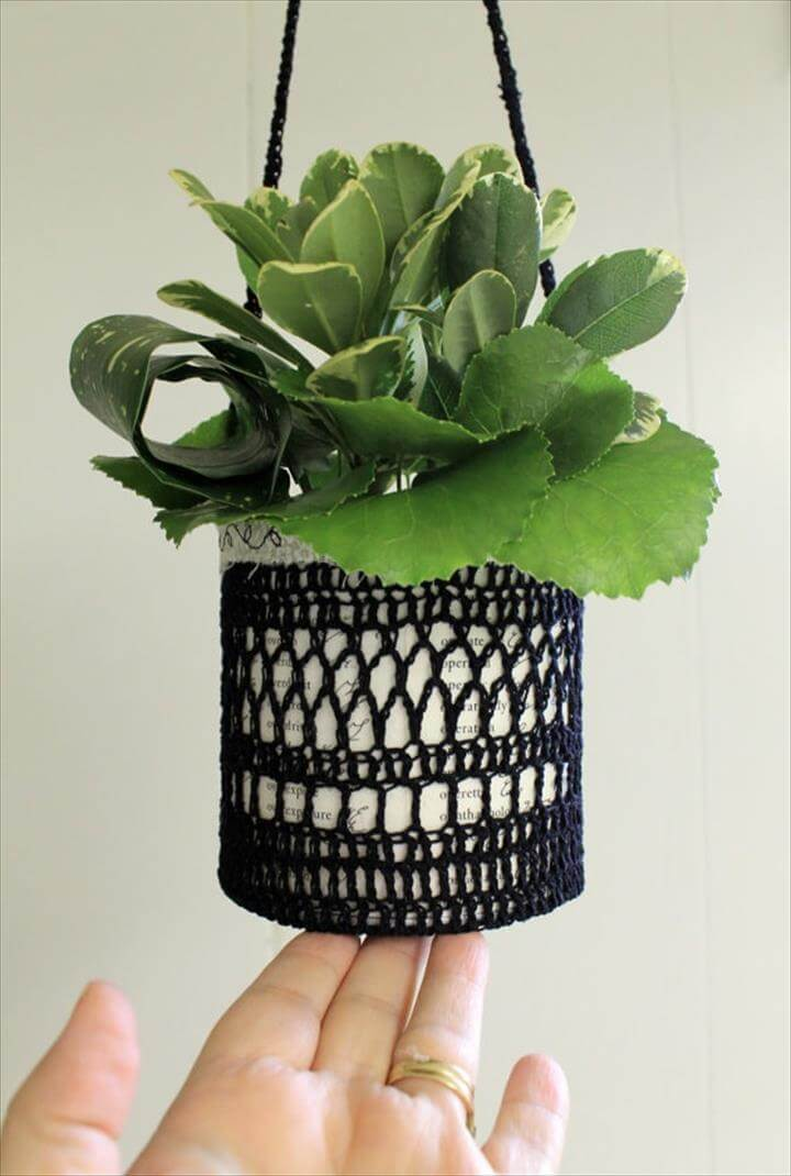 Crochet Flower Pot Cozy Hanging Plant