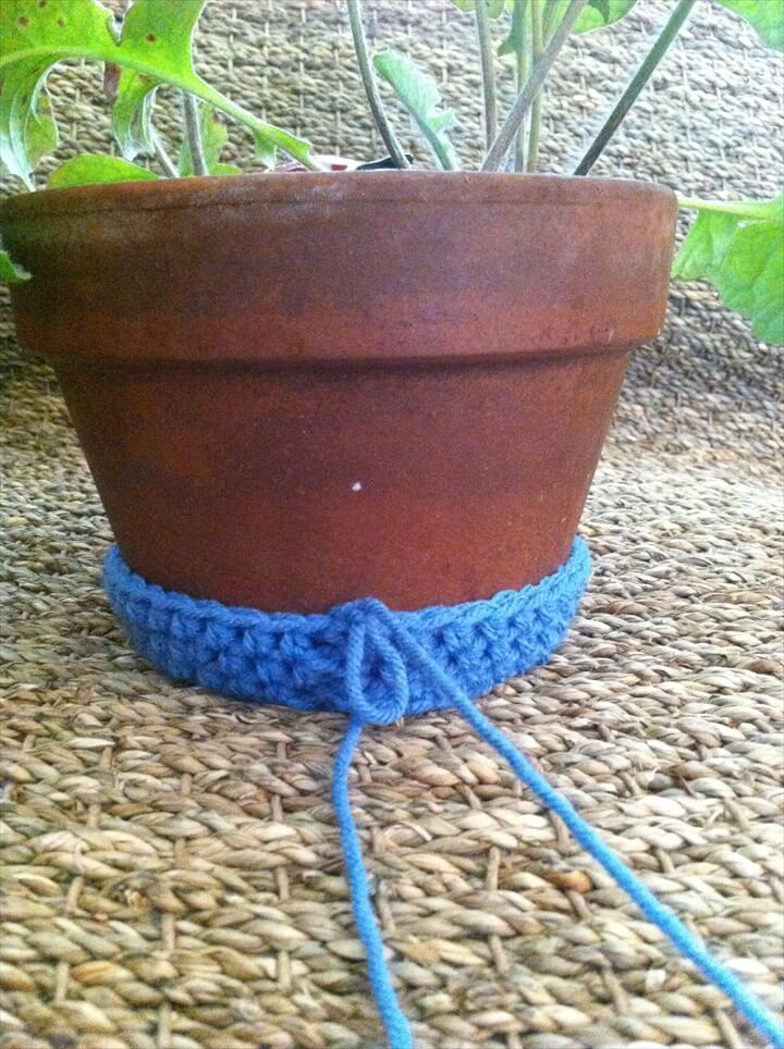 Crochet flower pot cozy
