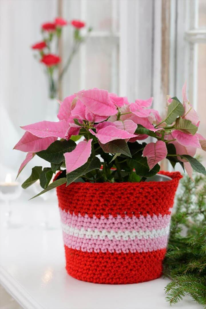 33 Easy Crochet Flower Pot Amp Plant Cover Ideas