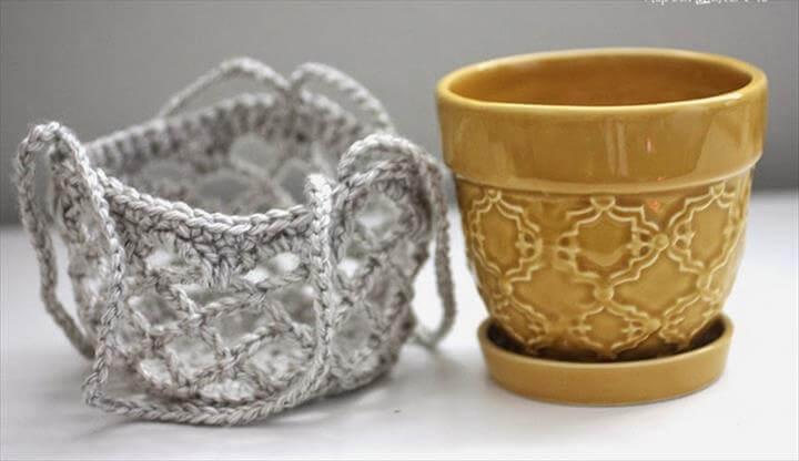 Crochet Flower Pot Hanging Basket FREE Pattern