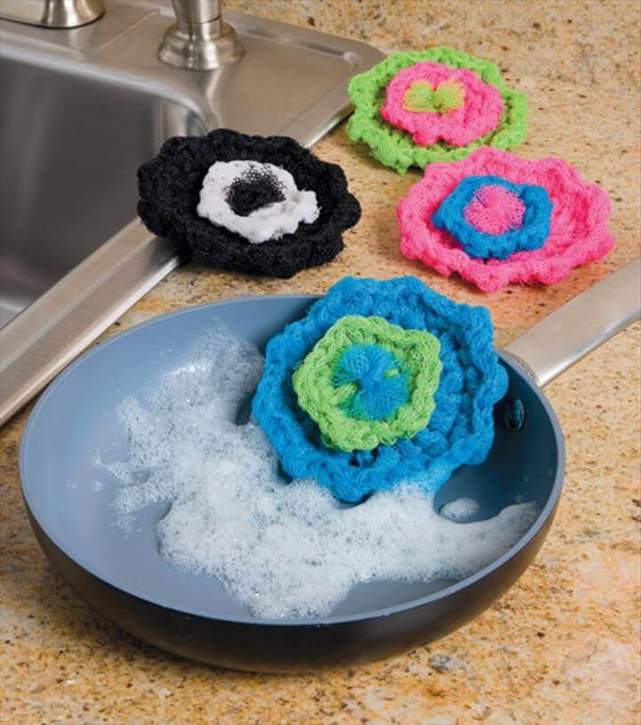 Crochet Flower Scrubbies