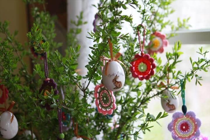 Easter egg and crochet flower arrangement
