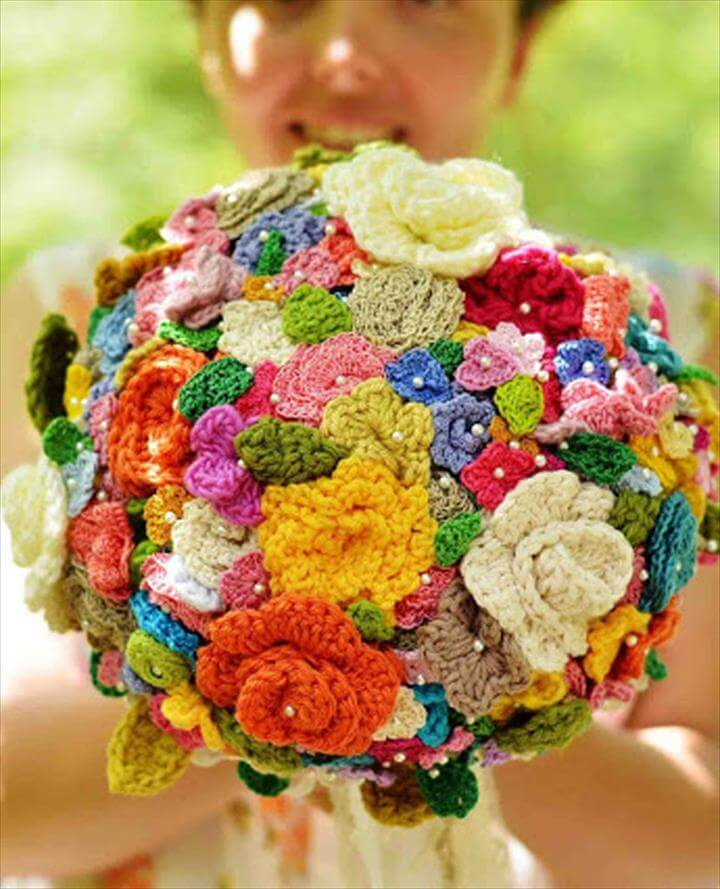 Crochet flower wedding bouquet.