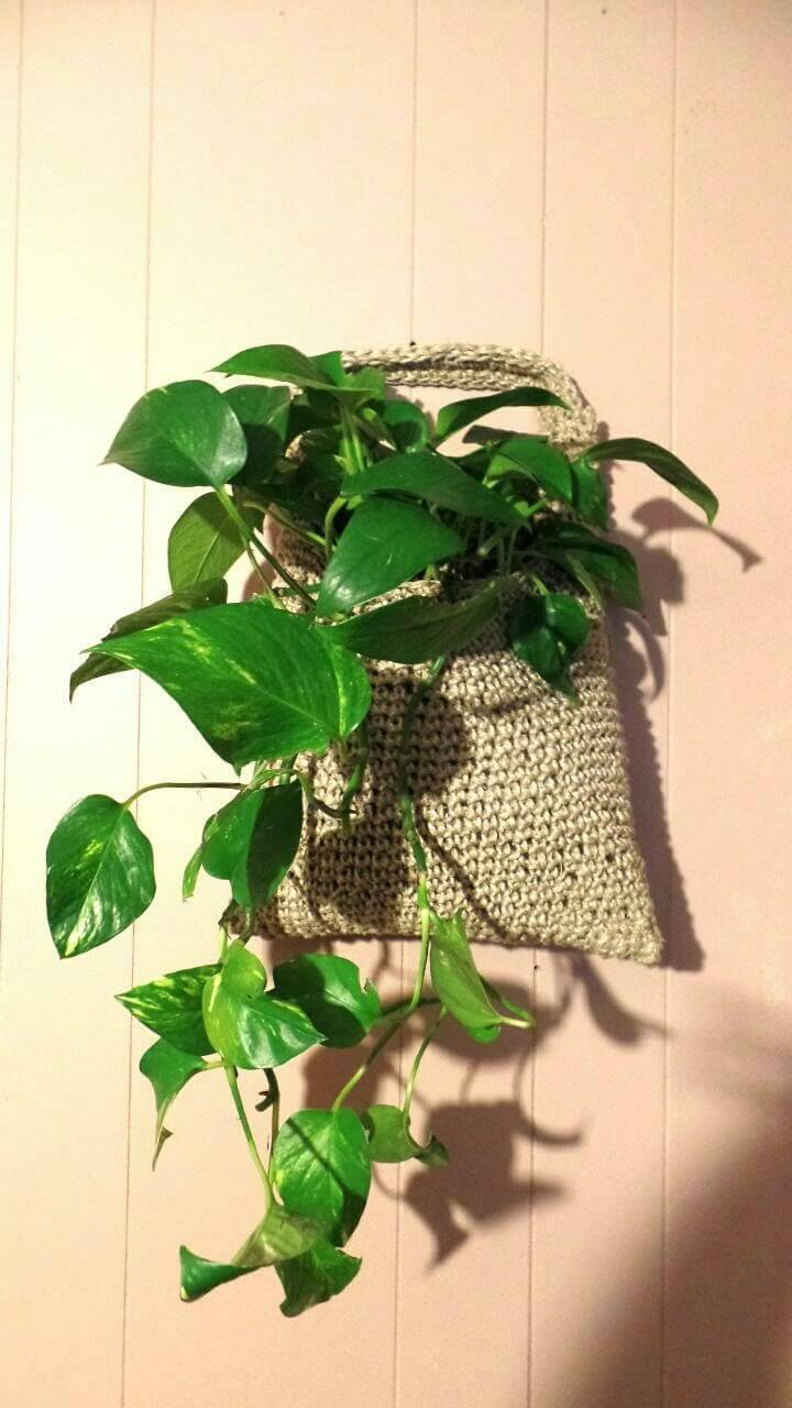 Crochet Hemp Flower Pot Planter Sack for Outside
