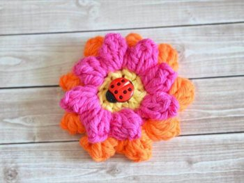 Crochet Popcorn Flower - Free Pattern & Photo Tutorial