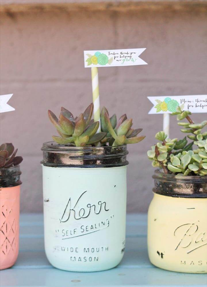 DIY mason jar succulent pots with free printable gift tags.