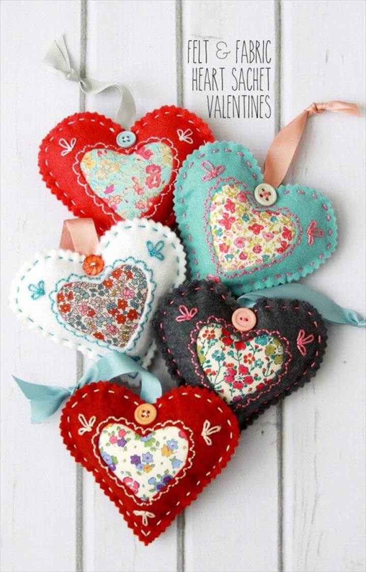 DIY Fabric Heart Valentines -