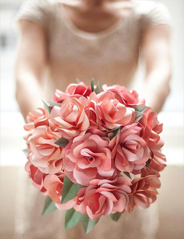 DIY Paper Rose Wedding Bouquet -lia Griffith