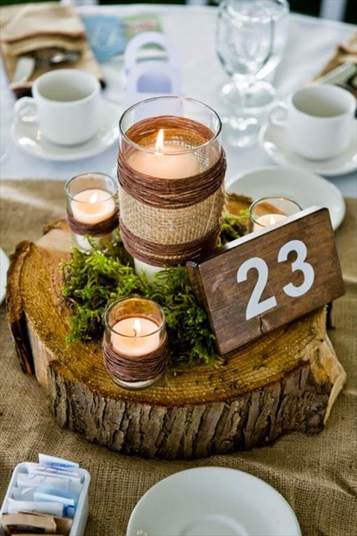 DIY rustic mason jar wedding centerpieces crafts