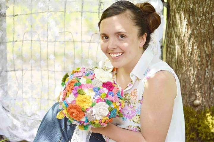 The Crocheted Flower Wedding Bouquet. This gurl finally finished the wedding bouquet. The bride loves it.