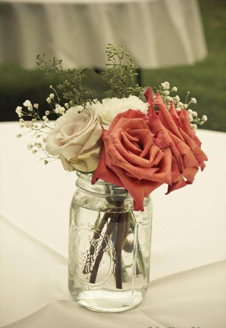 Rustic-Chic Mason Jar Centerpieces with Roses and Baby's Breath -