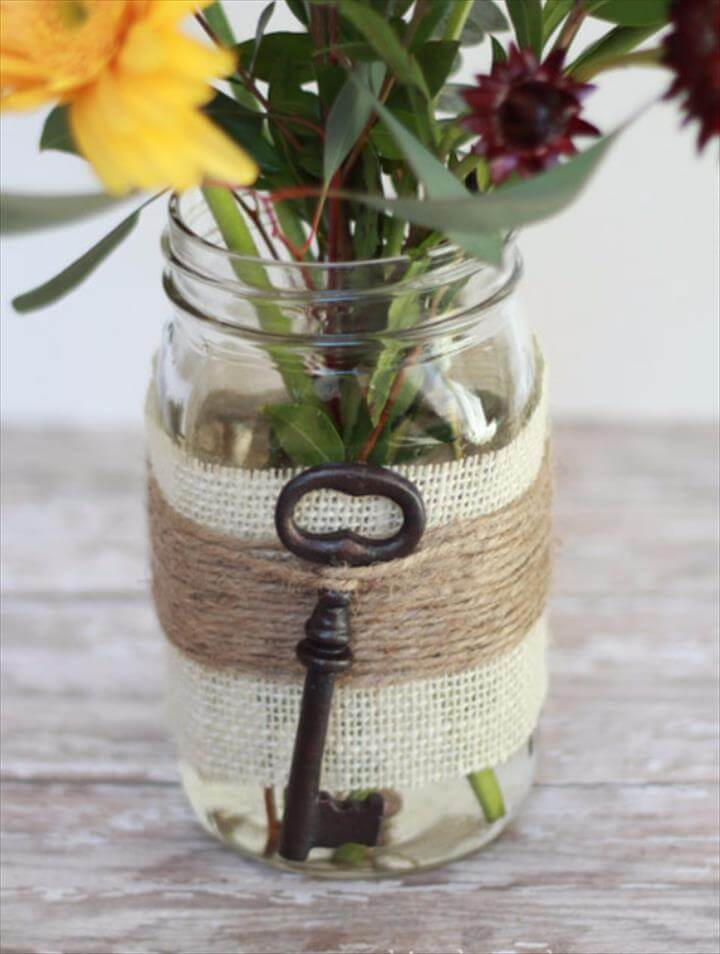 DIY Mason Jar Vases - Embellished Mason Jar Vase - Best Vase Projects and Ideas for