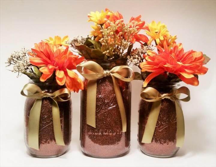 Fall Mason Jar Tafelaufsätze, Thanksgiving Dekoration, Rustikale Herbst Dekoration, Herbst Hochzeit Tafelaufsätze, Halloween Party, 3er Set