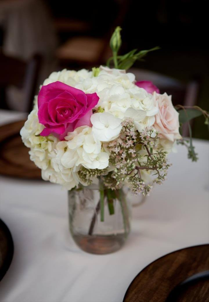 ... Feminine and Chic Floral Centerpiece of White and Pink in a Mason Jar - The French