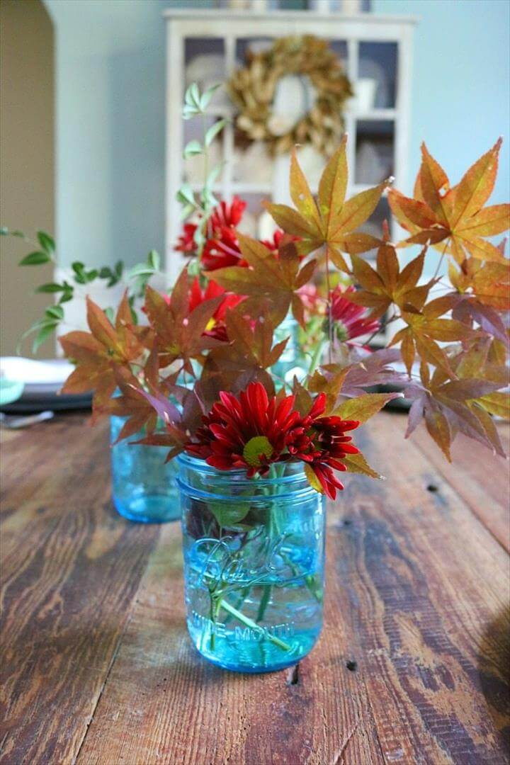 Blue Mason Jar Centerpiece