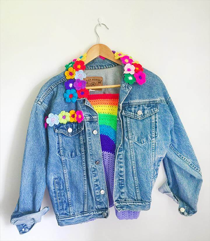 Flower Crochet Denim Jacket