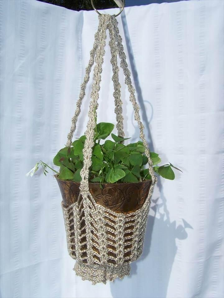 Flower hanging basket taupe crocheted for flower pots plant holder
