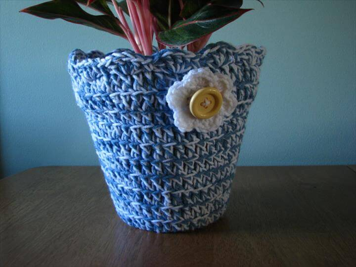 Flower Pot Cover, Crochet Flower Pot Cover, Personalized Flower Pots,Plant Pot Cover,Indoor Plant Holder, Outdoor Plant Holder,