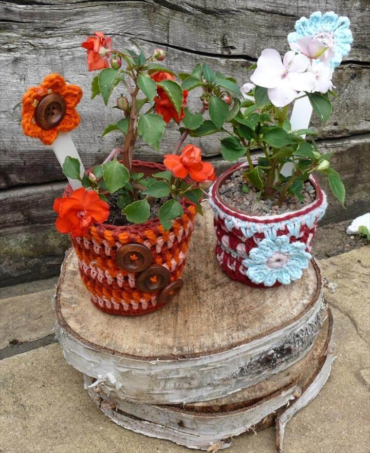 colorful crochet flower pot covers