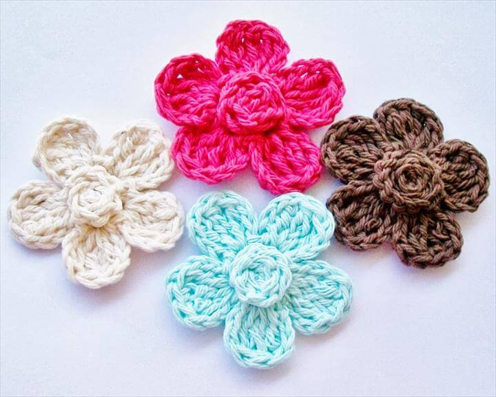 Free Crochet Flower Pattern, Five Petal Daisy Free Crochet Pattern