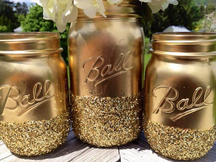 Gilded Gold Mason Jars For Wedding Centerpiece Vases Onewed Com